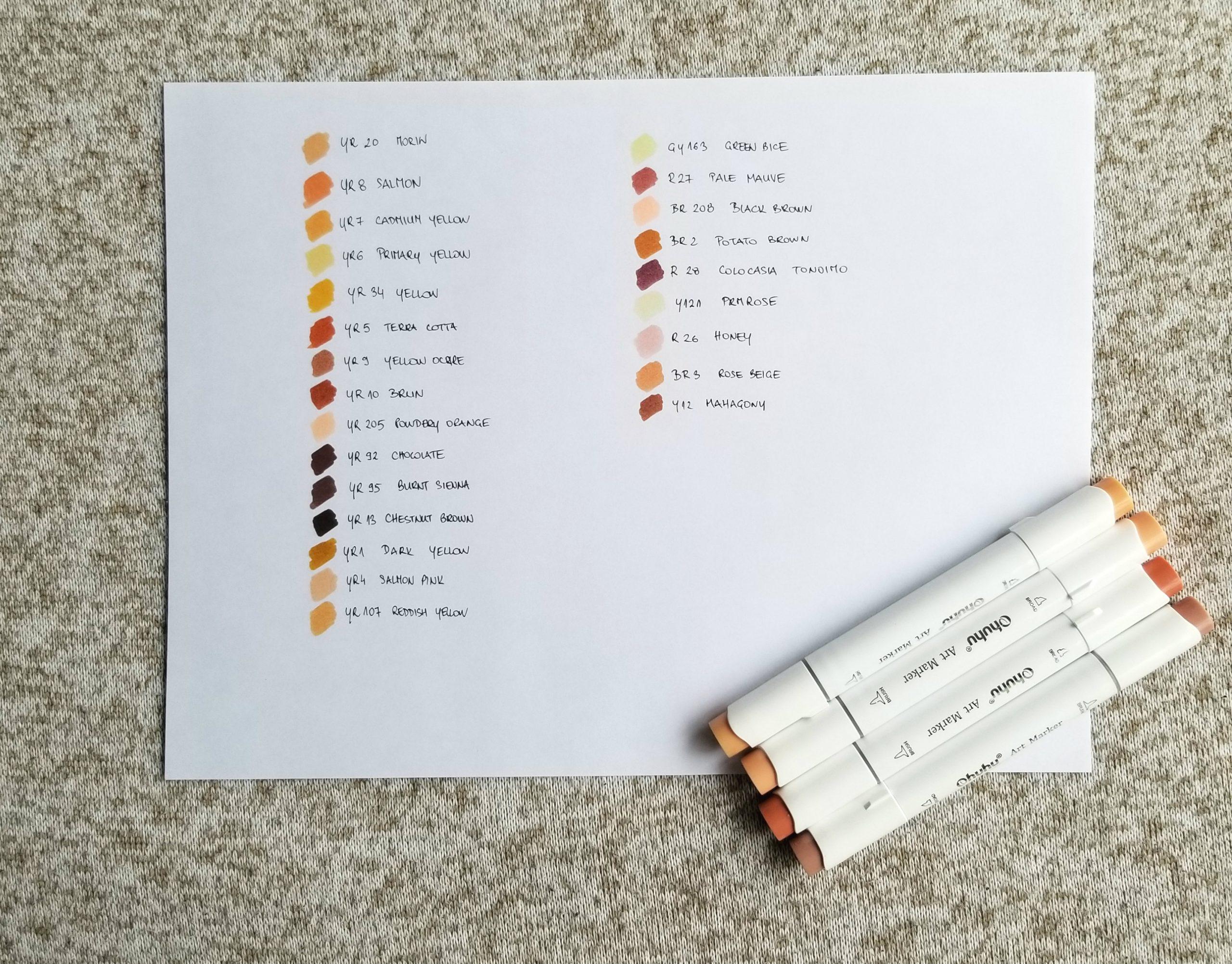 ohuhu brown marker set